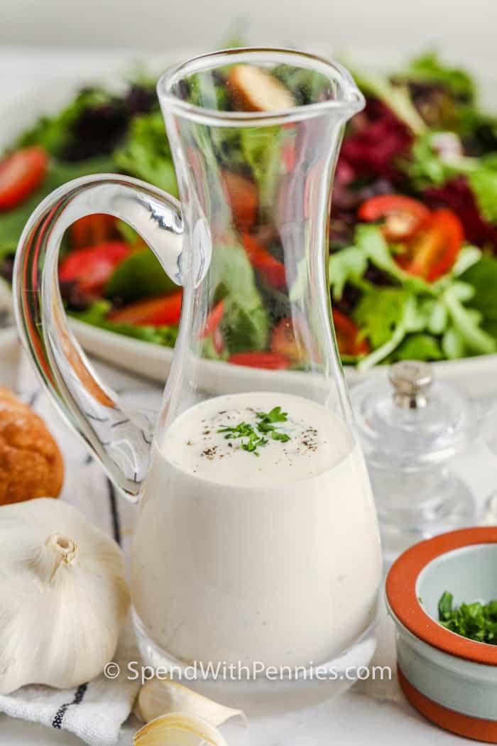 Creamy Garlic Dressing in a jug