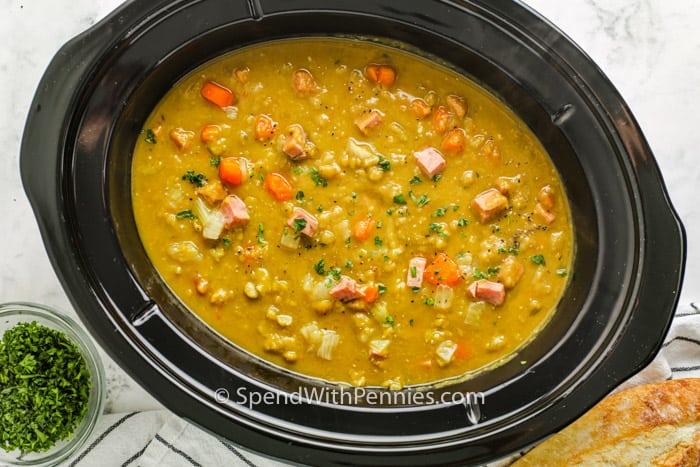 cooked Crockpot Split Pea Soup in the crock pot