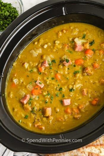 close up of Crockpot Split Pea Soup