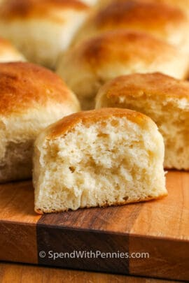 Dinner Rolls with one in half to show the inside