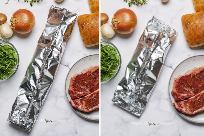 Steps to fold a tinfoil packet