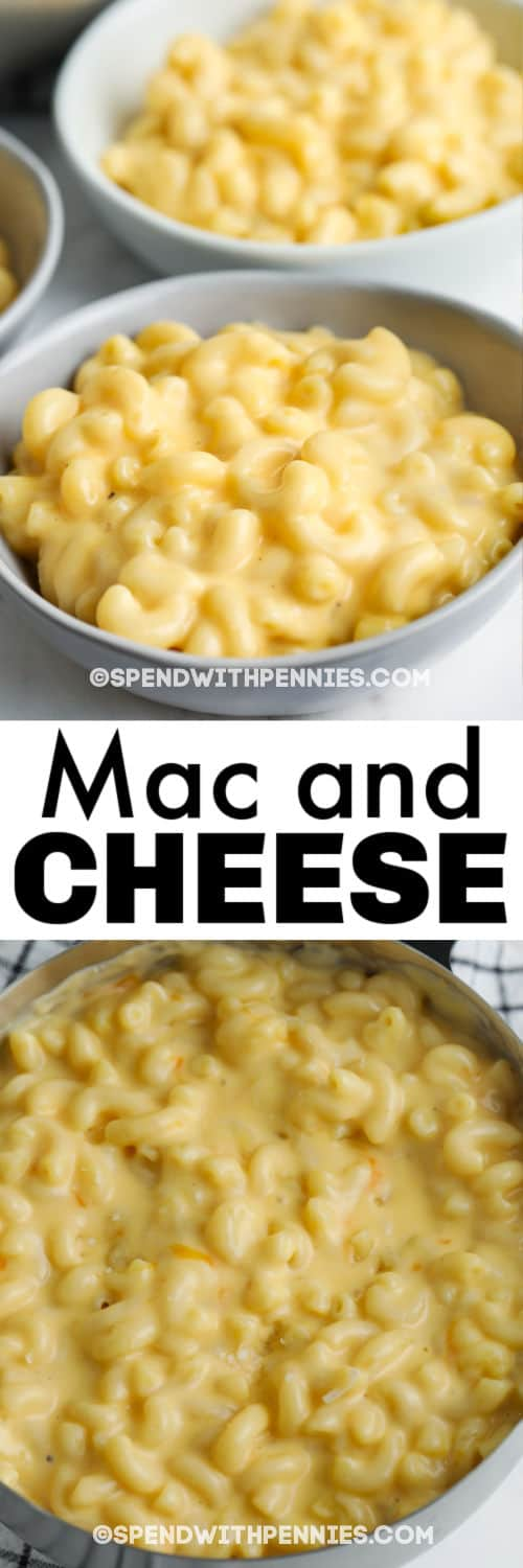 pot of 15 Minute Mac and Cheese with plated dish and writing