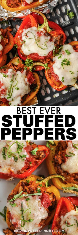 gekookte Air Fryer Gevulde paprika's in de heteluchtfriteuse en bedekt met een titel