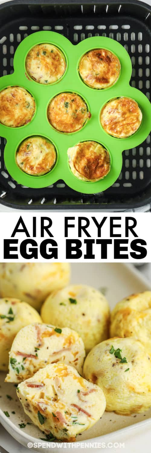 Air fryer Egg Bites cooking and plated with a title
