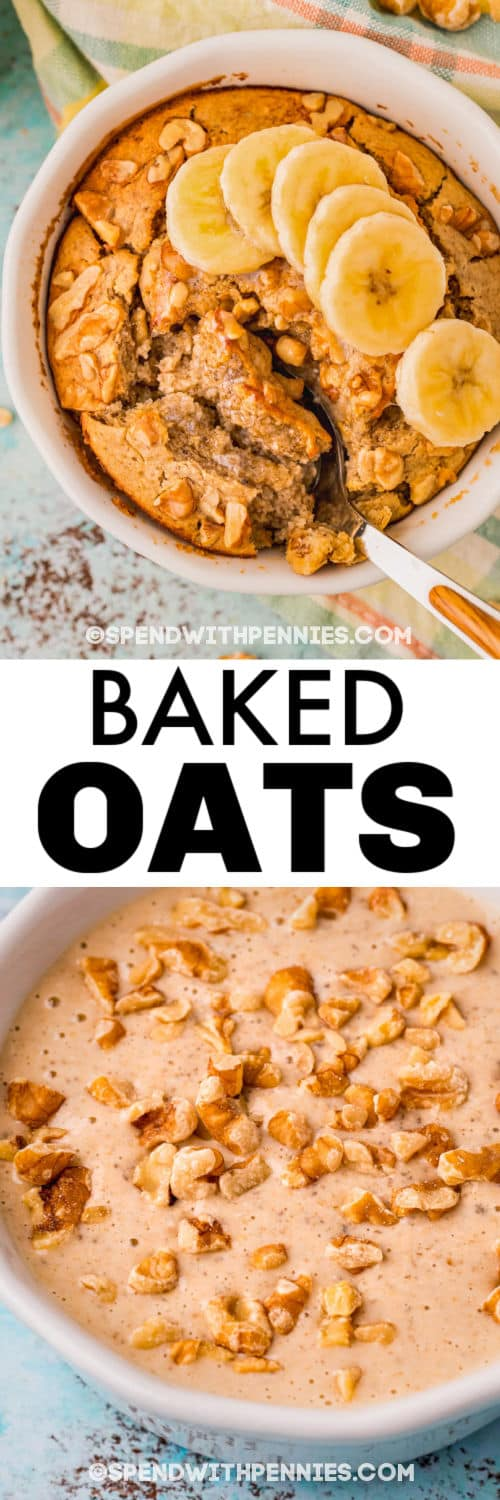 Banana Bread Baked Oats before and after cooking with a title
