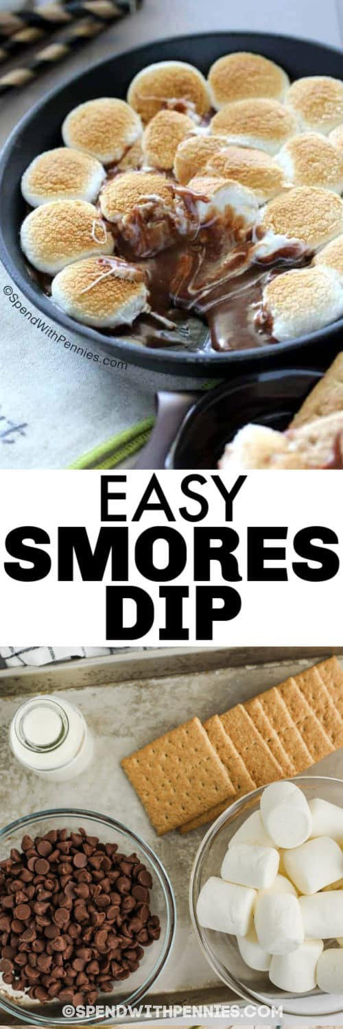ingredients to make Hot S'mores Dip with final dish in the pan and a title
