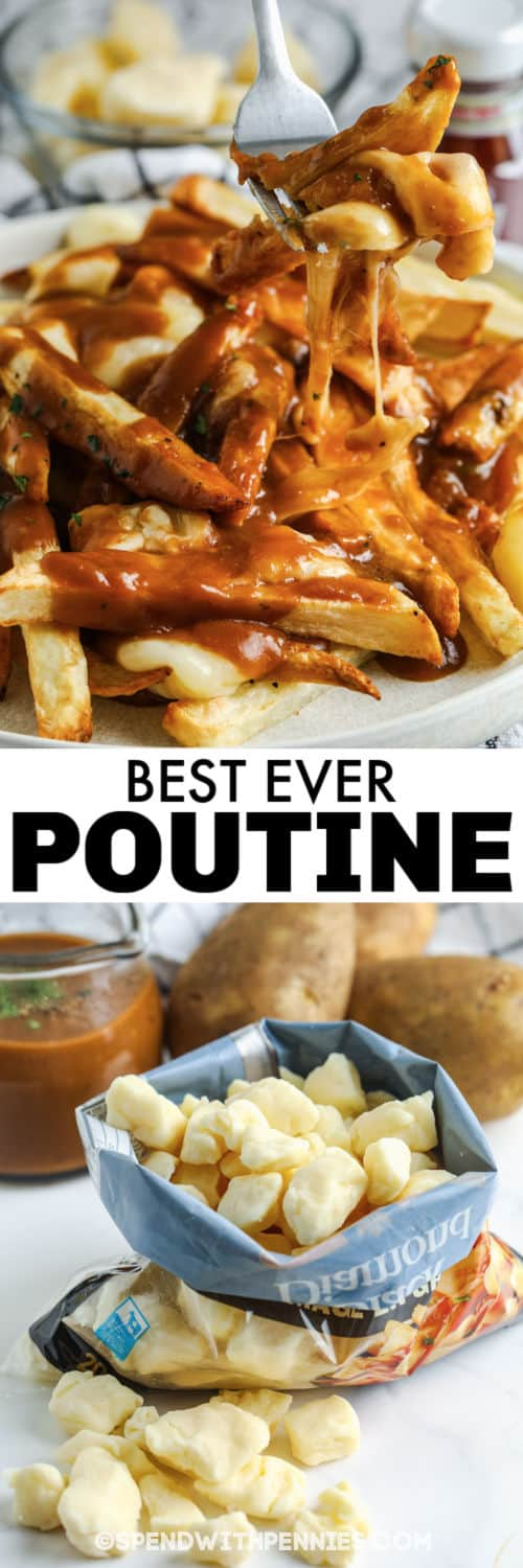 ingredients to make a Poutine with plated dish and a title