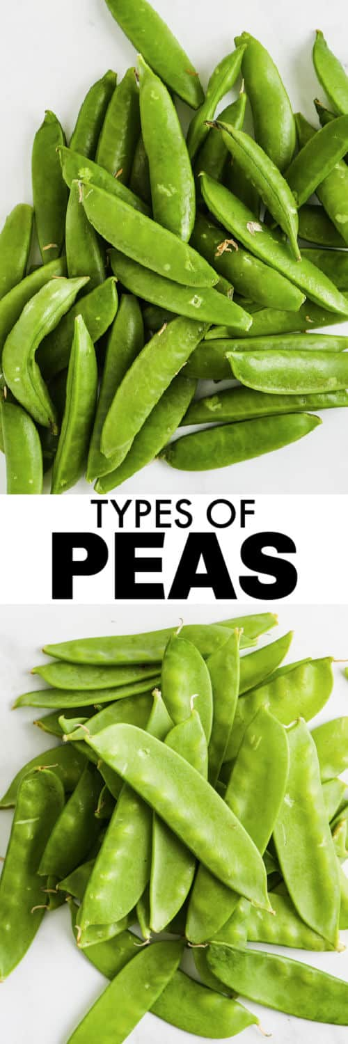 close up of peas with a title to show Snow Peas vs Snap Peas