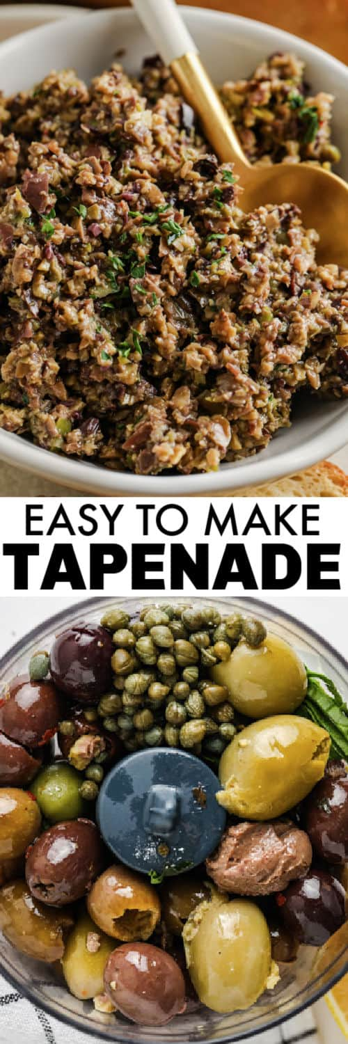 ingredients to make Tapenade with plated dish and a title