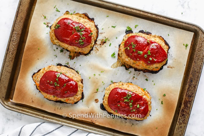 baked Mini Chicken Meatloaf on a baking sheet