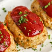 close up of plated Mini Chicken Meatloaf