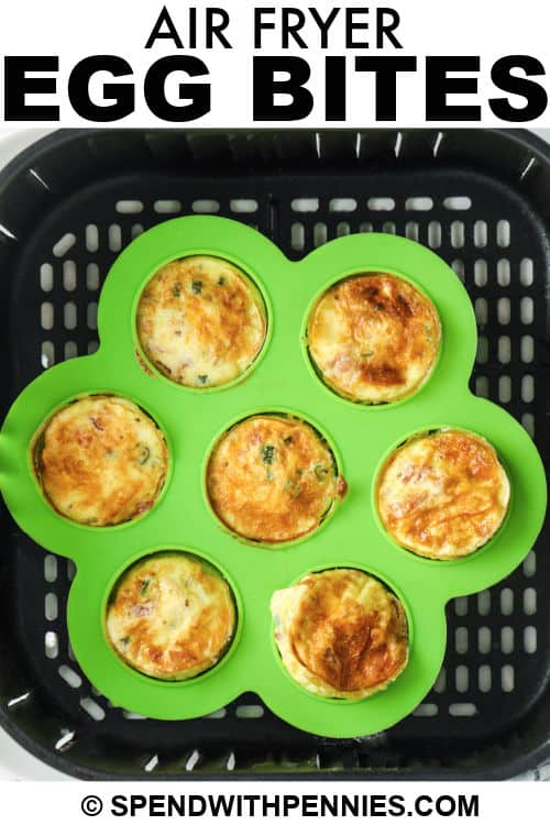 cooked Air fryer Egg Bites with a title