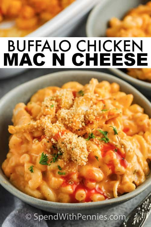 plated Buffalo Chicken Mac and Cheese with a title