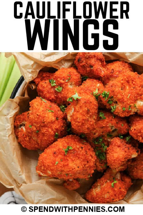close up of Cauliflower Wings with writing