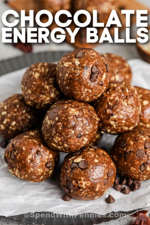 plated Chocolate Energy Balls with writing