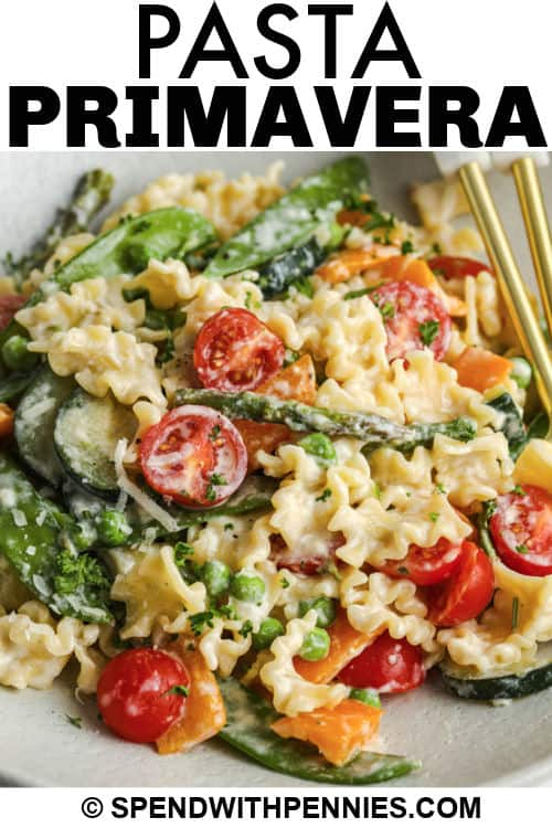 close up of Pasta Primavera with a title