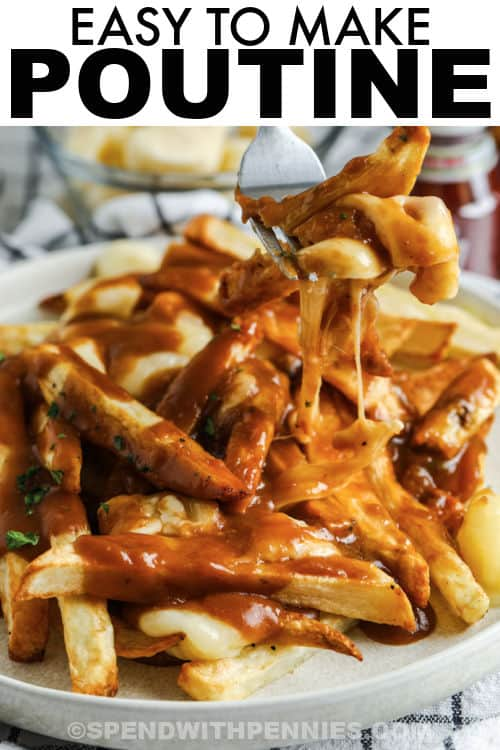 fork full of Poutine with a title
