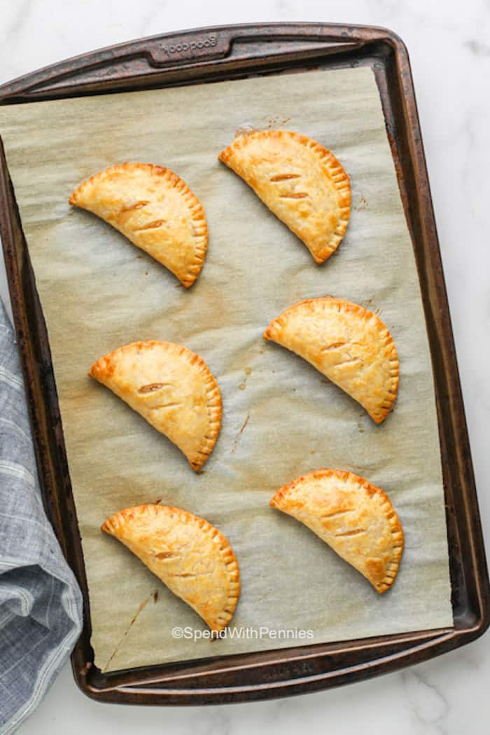 Hand pies baked on a pan