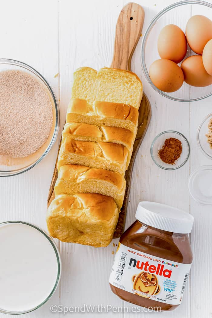 ingredients to make Nutella Stuffed Churro French Toast