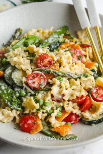 close up of plated Pasta Primavera
