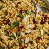 Quinoa Pilaf in a bowl with a spoon