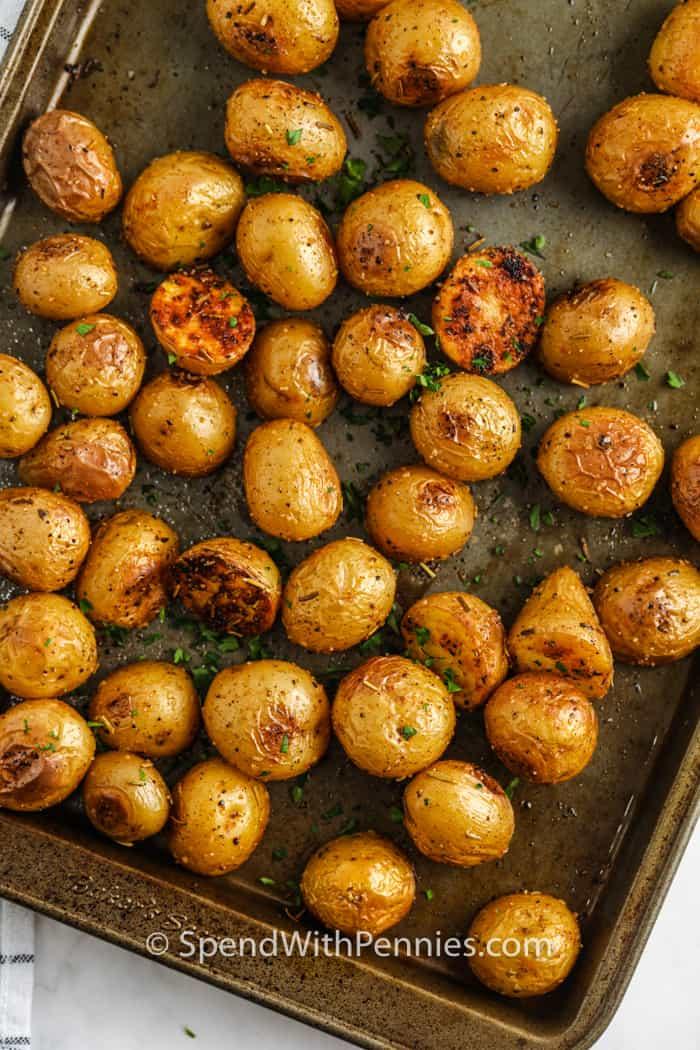 Rosemary Baby Potatoes on a baking sheet