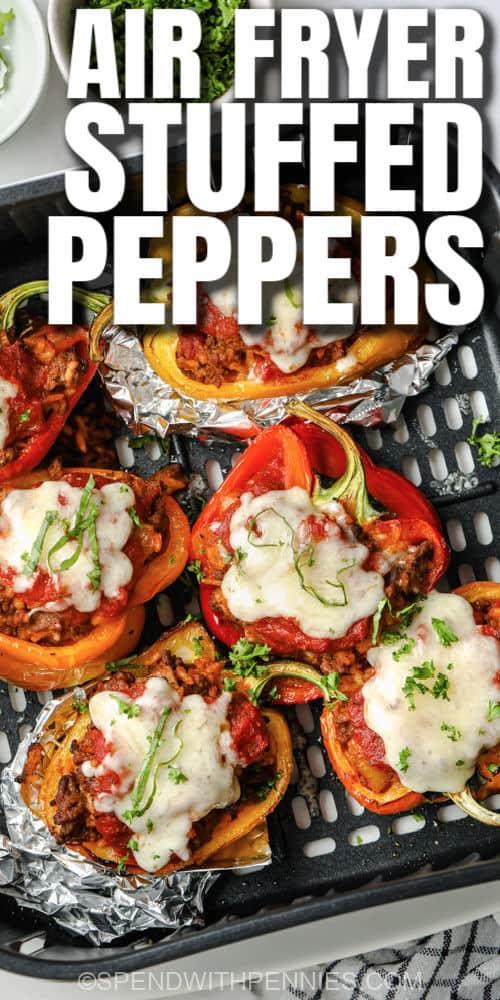 gekookte Air Fryer Gevulde Paprika's met een titel