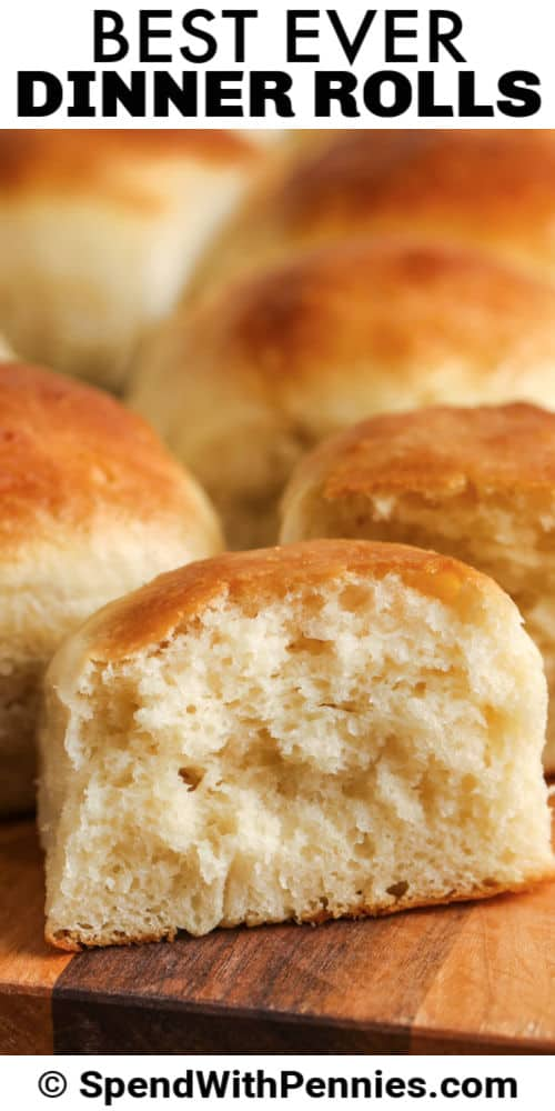 Dinner Rolls on a table with a title