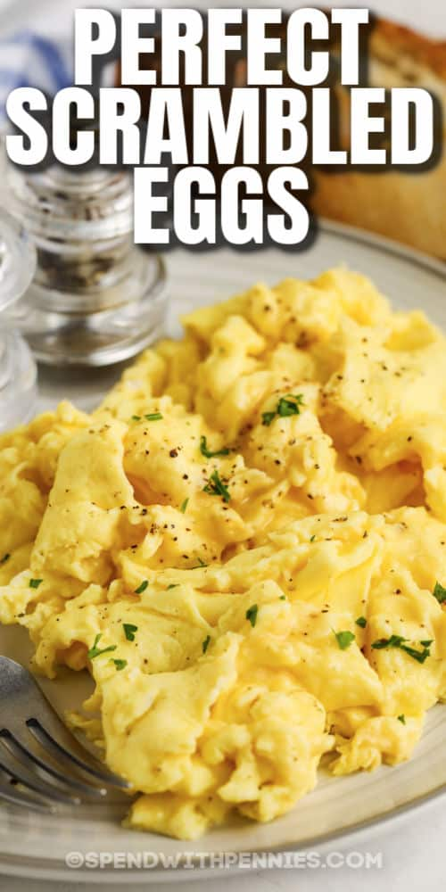 Fluffy Scrambled Eggs on a plate with a title