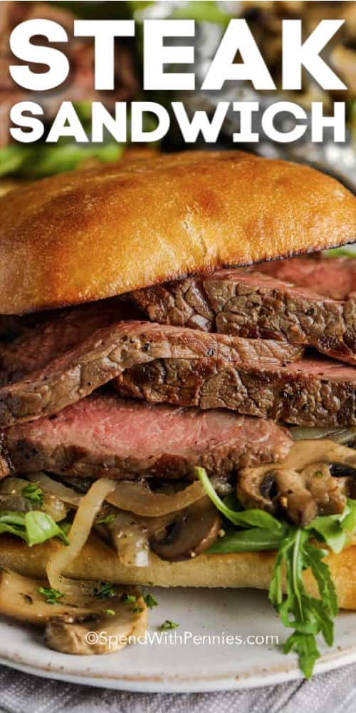 Prepared Grilled Steak Sandwich with writing