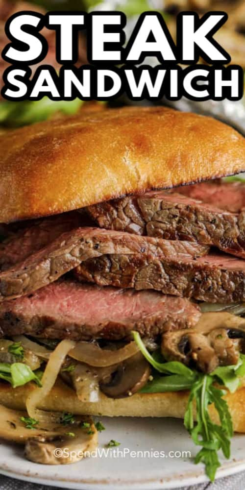 Close up of a prepared Grilled Steak Sandwich with writing
