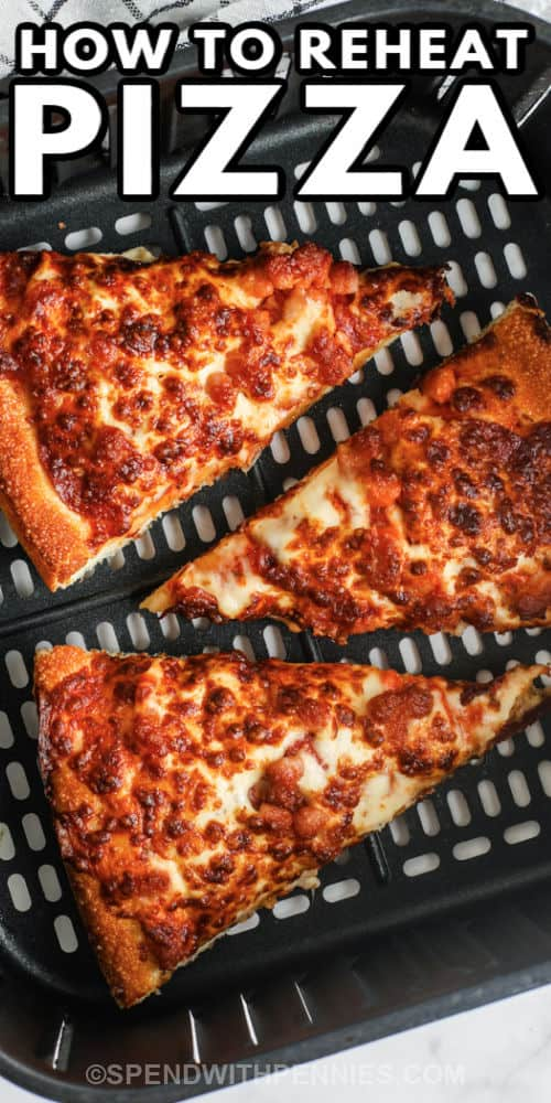 top view of pizza cooking to show How to Reheat Pizza