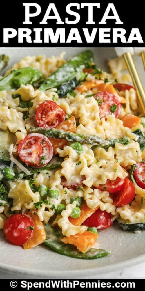plated Pasta Primavera with writing
