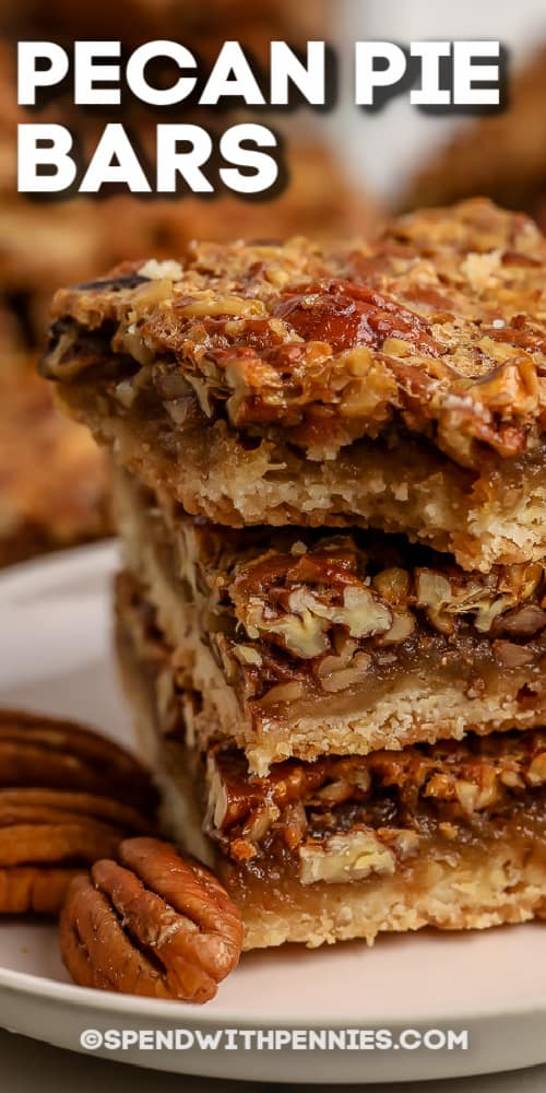 Pecan Pie Bars with a bite taken out of one with writing