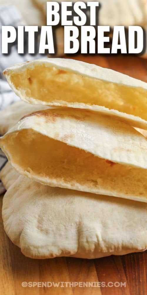 open Pita Bread pockets with a title