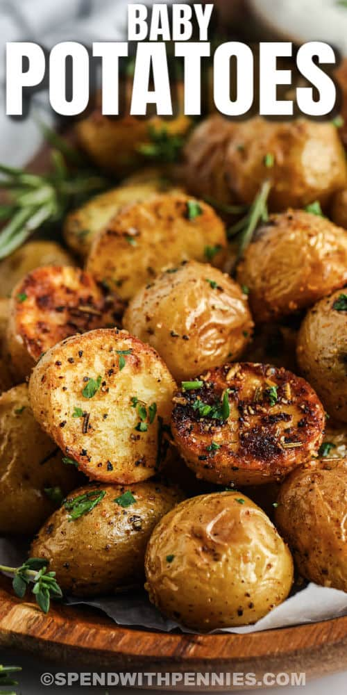 crispy Rosemary Baby Potatoes with a title