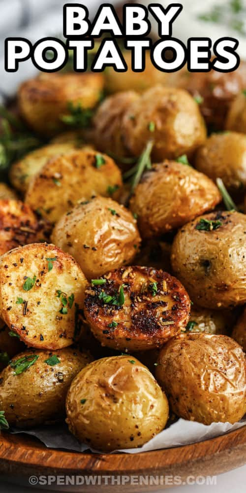 Rosemary Baby Potatoes cooked ina a plate with writing