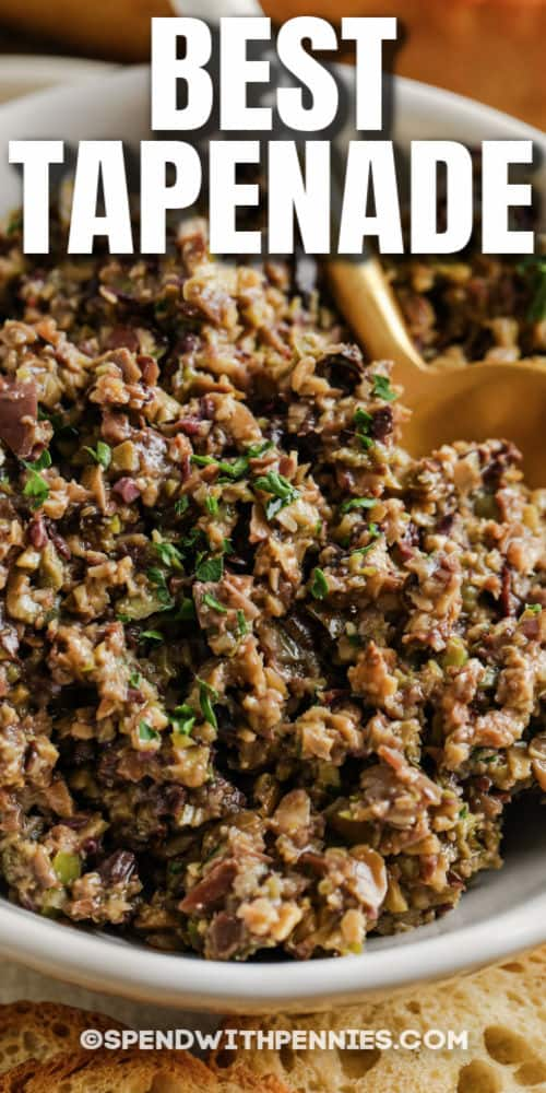 close up of Tapenade with a title