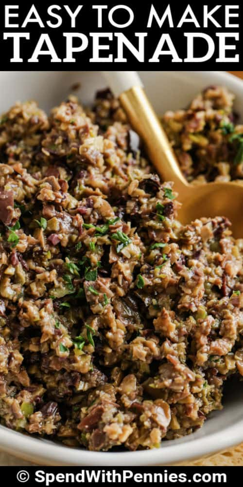 Tapenade in a dish with a title