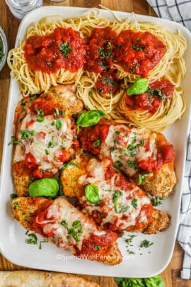 Air Fryer Chicken Parmesan on a plate with spaghetti