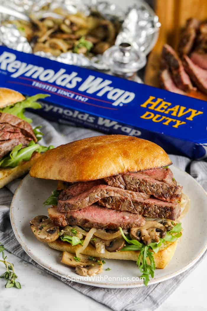 Assembled grilled steak sandwich
