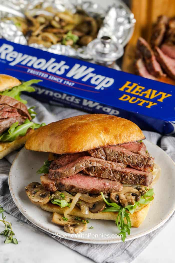 Assembled grilled steak sandwich