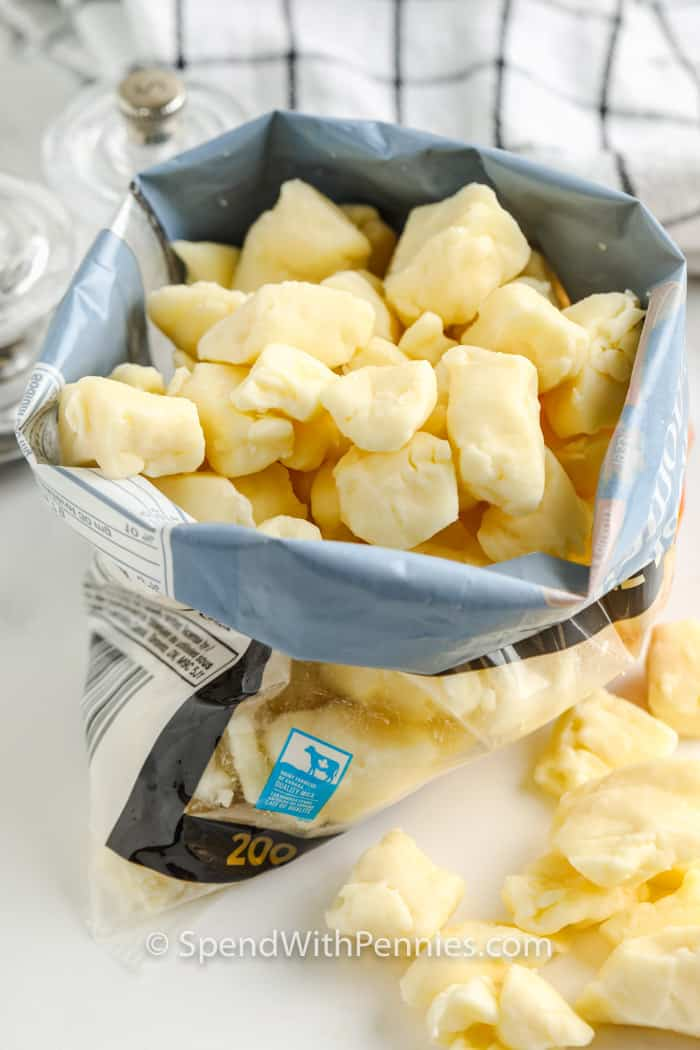 cheese curds in a bag to show What are Cheese Curds