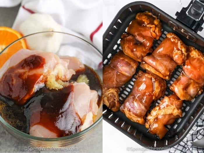 process of adding Air Fryer Hoisin Thighs to the air fryer