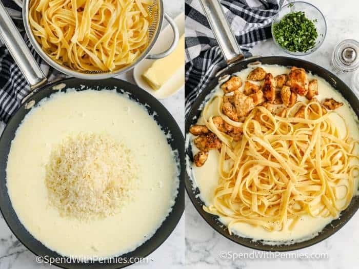 adding ingredients to the pan to make Chicken Alfredo