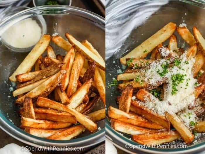 process of adding ingredients to the bowl to make Garlic Parmesan Fries