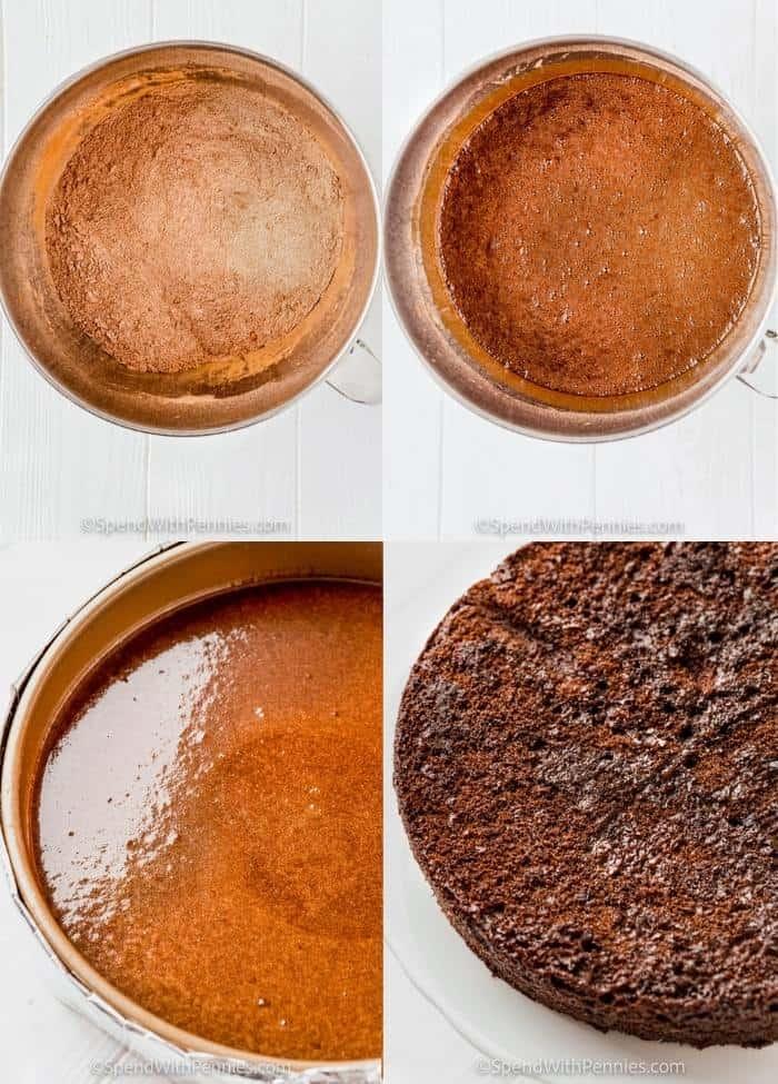 process of adding ingredients to pan to make Chocolate Cake
