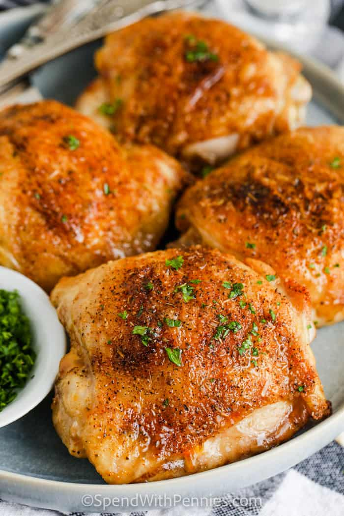 plated Air Fryer Chicken Thighs