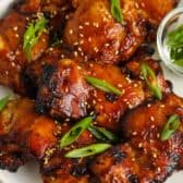 close up of Air Fryer Hoisin Thighs on a plate