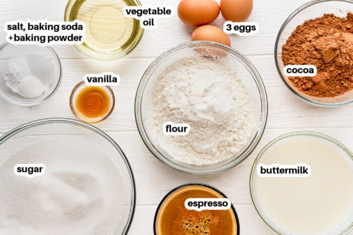 ingredients to make Chocolate Cake with labels